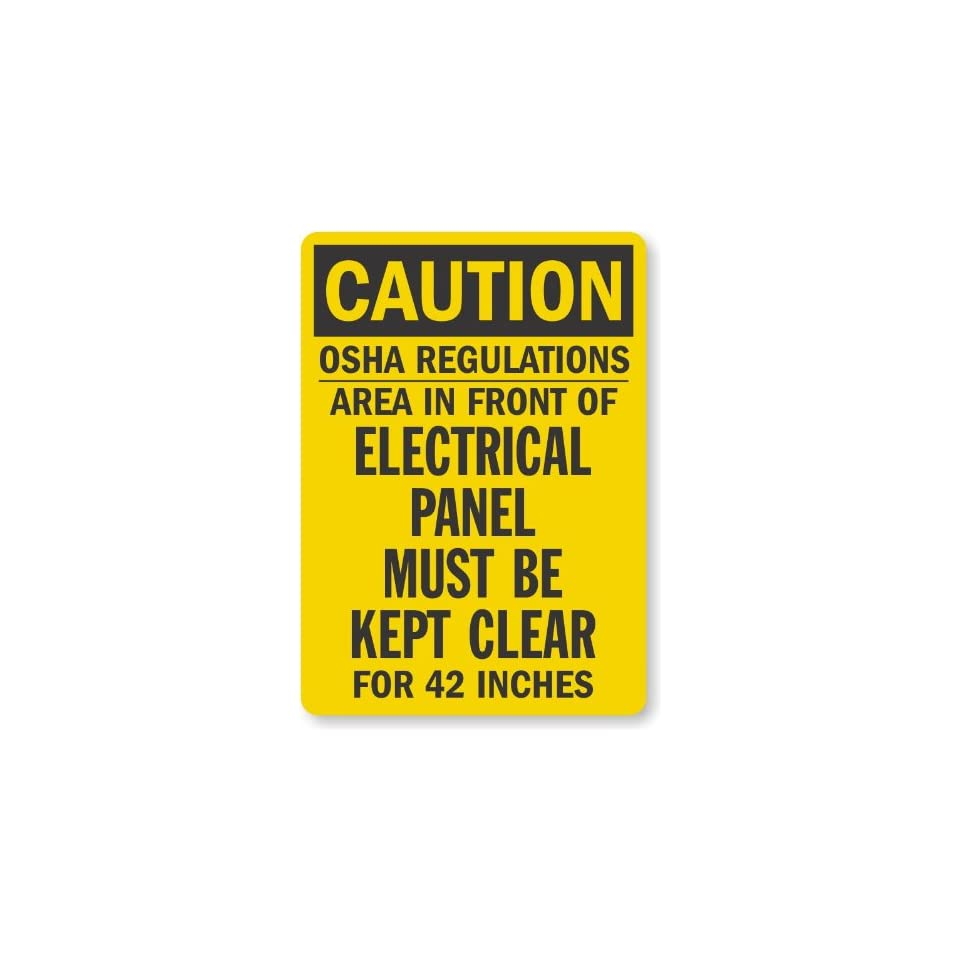"""SmartSign Adhesive Vinyl OSHA Safety Sign, Legend """"Caution Electrical Panel Must be Kept Clear"""", 5"""" high x 3.5"""" wide, Black on Yellow"""