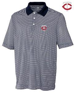 Minnesota Twins Mens DryTec Trevor Stripe Shirt Navy Blue Heather by Cutter & Buck