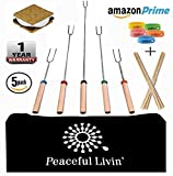 "Peaceful Livin' Marshmallow Roasting Sticks for Smores +Anti-Mosquito Bracelets / 20 Bamboo Skewers - Family Campfire Bundle BBQ Kabobs Set - 32"" Long Extending Telescopic Hot Dog Roaster Forks"