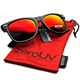 Flat Matte Reflective Revo Color Lens Large Wayfarers Style Sunglasses - UV400 (Black Crimson)