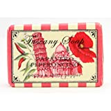 Alighiero Campostrini from the Tuscany Soap Collection- Boxed Set of Four 5.3 oz 150g Bars - Papavero Peperoncino [Poppy & Chilly/Chili Pepper]- Made in Florence Italy - Designed by Giorgio Mattioli Florence - The Leaning Tower of Pisa design - Sapone Toscano Extrafine