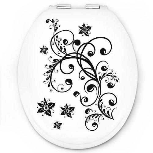 Abattant wc fleurs abattant wc - Abattant wc noir et blanc ...