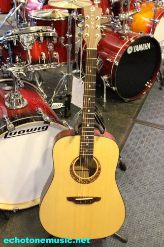 Luna Gypsy Muse Acoustic Guitar W/ Hard Shell Case Student Dreadought Guitar