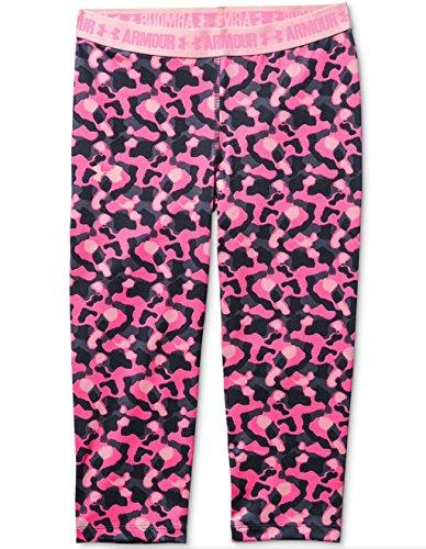Under Armour Girls HeatGear Printed Capri Leggings Pants Pink Size YXL XL X-Large