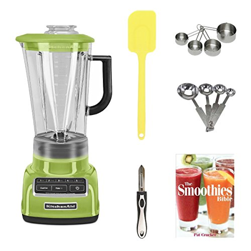 Kitchenaid Ksb1575Ga 5-Speed Diamond Blender With 60-Ounce Bpa-Free Pitcher (Green Apple) + Stainless Measuring Cup Set + Stainless Steel Measuring Spoon Set + Silicone Spatula (Color May Vary) + Vegetable Peeler + The Smoothies Bible