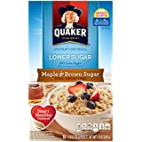 Quaker Instant Oatmeal Lower Sugar Maple & Brown Sugar, 10-Count 1.19oz  Boxes (Pack of 6)