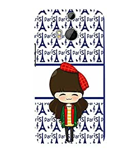 printtech Paris Girl Ribbon Back Case Cover for HTC One M8::HTC M8