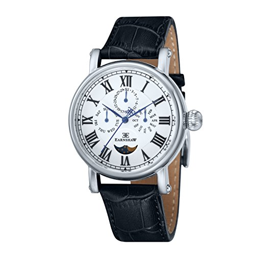 Thomas Earnshaw Multi-Function Maskelyne Men's Quartz Watch with White Dial Analogue Display and Black Leather Strap ES-8031-01