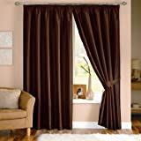 Pair of Java Chocolate Faux Silk Ready Made Curtains 46