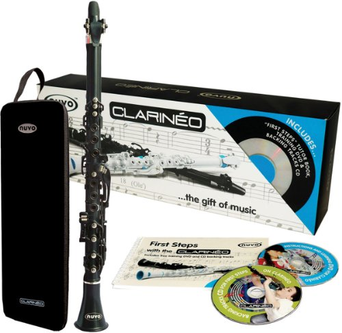 Nuvo Clarineo 'C Clarinet' Self Teach Outfit - Black with Silver Trim with Moulded Case, First Steps Book, DVD and CD