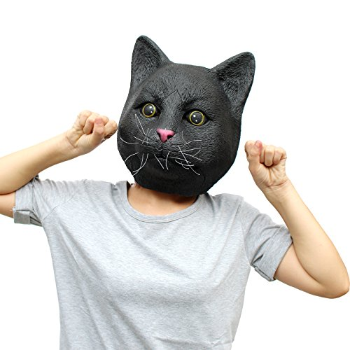 CreepyParty Deluxe Novelty Halloween Costume Party Latex Animal Cat Head Mask