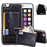 """For Apple iPhone 6 Plus & iPhone 6s Plus Case, DRUnKQUEEn® Premium Credit Card Holder Case iPhone6 Plus & iPhone6s Plus (5.5"""") Wallet Practical Back Leather Case - Magnetic Hard Back Credit Card Case"""