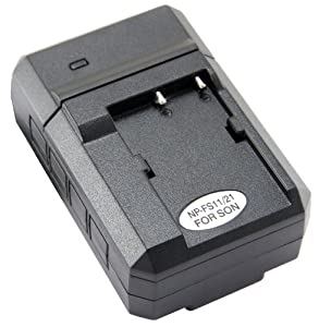 STK's Sony S Series Battery Charger - for Sony DCR-PC5, DCR-PC1, DCR-PC3, DCR-PC2, DCR-P4,DSC-P50, DSC-P30, DSC-F505, DSC-F55, DSC-P20, CCD-CR1, CCD-CR5, Replaces Sony AC-VQ11 and DC-VQ11 chargers for NP-F10, NP-F20, NP-FS12, NP-FS11, NP-FS22, NP-FS20 batteries.