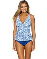 Sunsets Women's Blue Grotto Underwire Bra Tankini Top (D Cup)
