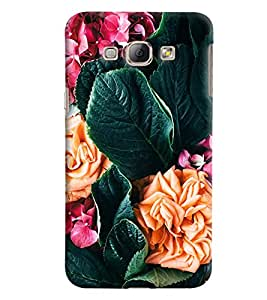 Blue Throat Flower And Leaves Printed Designer Back Cover/Case For Samsung Galaxy A8