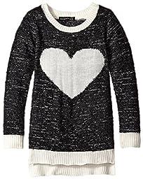 Derek Heart Big Girls\' Heart Fuzzy Sweater, Black, Medium