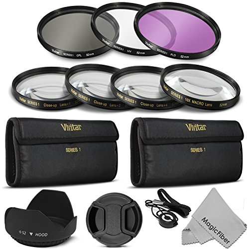 52MM Professional Lens Filter and Close-Up Macro Accessory Kit for NIKON D7100 D7000 D5300 D5200 D5100 D5000 D3300 D3200 D3100 D3000 D90 D80 DSLR Cameras – Includes: Vivitar Filter Kits (UV, CPL, FLD) + Vivitar Macro Close-Up Set (+1, +2, +4, +10) + Carry Pouch + Tulip Lens Hood + Center Pinch Lens Cap w/ Cap Keeper Leash + MagicFiber MicroFiber Lens Cleaning Cloth