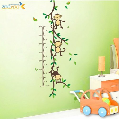 "Hunnt 43.3""x19.6"" Funny Monkey Forest Tree Growth Chart Height Chart Wall Vinly Decal Decor Sticker Removable Wall Decal For Nursery Children's Bedroom"
