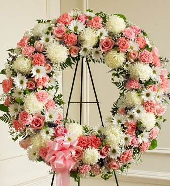 1800Flowers - Serene Blessings Pink & White Standing Wreath - Large front-216203