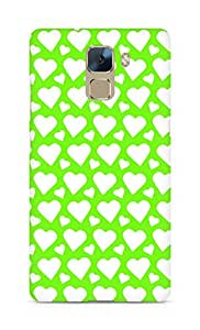 AMEZ designer printed 3d premium high quality back case cover for Huawei Honor 7 (green white hearts)