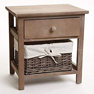 Brown wooden bedside table with 1 drawer 1 basket kitchen a - Table de nuit scandinave ...