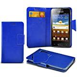 (Blue) Samsung I8700 Omnia 7 Protective Mega Thin Faux Leather Suction Pad Wallet Case Cover Skin With Credit/Debit Card Slots Aventus