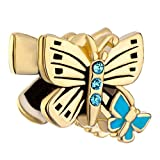 Pugster Double Golden Butterfly Blue Crystal March Birthstone Charm Beads Fit Pandora Charm Bead Bracelet