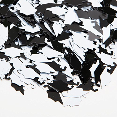 Black & White Grad Caps Confetti