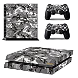Gray Camouflage Pattern PS4 Skins Camouflage Sticker Camo Vinly Decal Cover for Sony PS4 PlayStation 4 Console and Controller-Marine Camouflage