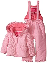Weatherproof Baby-Girls Infant Heart Shaped Quilted Puffer Snowsuit, Pink Prism, 12 Months