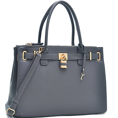 Dasein Faux Leather Padlock Structured Briefcase Satchel Handbag, Tablet, iPad Bag (Classic Style 1, 0326 - Grey)