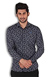 Kivon Men's Blue Slim Fit Printed Casual Shirt
