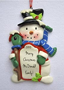 """Personalized Snowman """"Frosty"""" Christmas Ornament"""