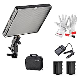 Emgreat Aputure Amaran AL-528C 528 Led Video Light Panel Studio Lighting Kit with Rechargeable Batteries Pack and Pergear Clean Kit
