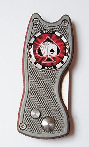 Pitchfix Hybrid grau/rot, aufklappbare Pitchgabel und Golfball Marker mit Motiv