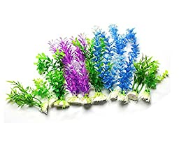 Viskey Fish Tank Aquarium Ornament Plants, Pack of 10pcs Assorted Style
