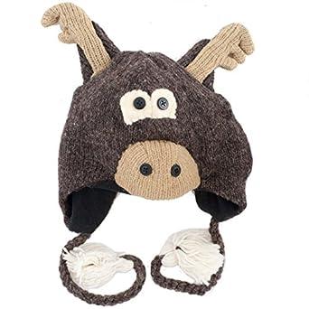 Knitting Pattern For Moose Hat : Cartoon Moose Knitted Nepal Animal Hat: Amazon.co.uk: Clothing