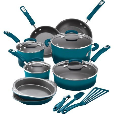 Rachael Ray 15-Piece Hard Enamel Nonstick Cookware Set - Marine Blue (Rachael Ray Pots And Pans Set compare prices)