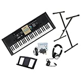 Yamaha YPT220 61 key/note, full size portable keyboard including power adaptor, Numark HF125 stereo headphones and Opus X-frame keyboard stand