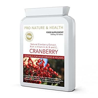 Cranberry High Strength Urinary Tract Health Support Daily Supplement | 5000mg x 90 Tablets | Natural Cranberry Extract | Prevents Recurrent Urinary Tract Infections (UTIs) And Painful Cystitis | Helps Maintain A Healthy Urinary Tract, Kidneys And Bladder