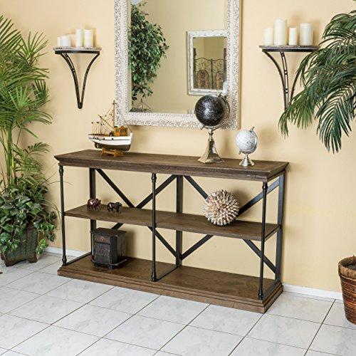 Braylon 3-Shelf Industrial Dark Khaki Wood Bookshelf (60 Inch Console Table compare prices)