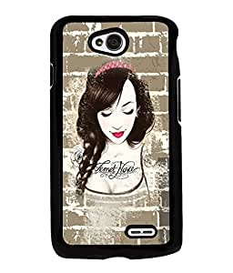 Fuson Brick Pattern Girl Back Case Cover for LG L70 - D3881