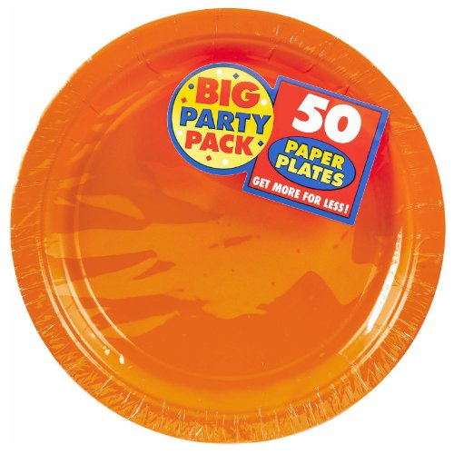 Amscan AMI 650013.05 Amscan Orange Big Party Pack Dinner Plates (50 Count), 9-Inch, 1, orange