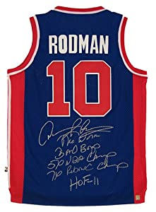 Dennis Rodman Signed Detroit Pistons Blue Jersey w  5 Inscriptions by Authentic+Signings+Inc.