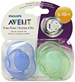 Philips AVENT BPA Free Freeflow Pacifier, 6-18 Months, 2-Pack, Colors May Vary