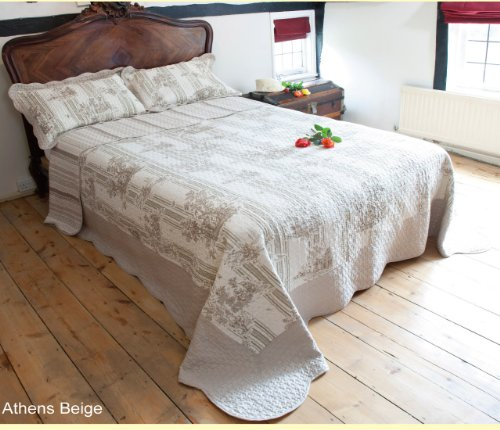 QUILTED BEDSPREAD - ATHENS BEIGE (KING SIZE 260CM X 260CM)