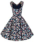 Lindy Bop 'Ophelia' Vintage 1950's Dark Blue Floral Spring Garden Party Picnic Dress