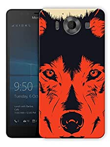 """Humor Gang Red Wolf Abstract Printed Designer Mobile Back Cover For """"Nokia Lumia 950"""" (3D, Matte, Premium Quality Snap On Case)"""