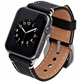 Apple Watch Band, 42mm iWatch Strap Premium Vintage Crazy Horse Genuine Leather Replacement Watchband with Stainless Metal Clasp for All Apple Watch Sport Edition (42MM black) Reviews