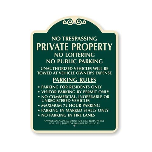 No Trespassing Private Property, No Loitering, No Public Parking Designer Signs, 24 x 18